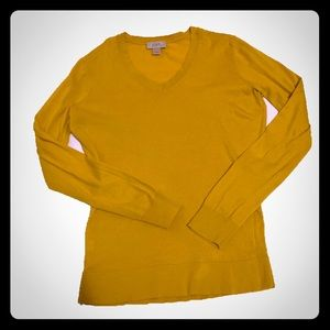 LOFT sweater top medium petite mustard yellow